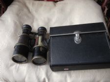 VINTAGE EX MILITARY BINOCULARS LEATHER COVERS LOOSE WITH QUALITY HARD CASE